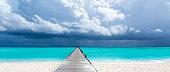 Maldives beach resort panoramic landscape. Summer vacation travel holiday background concept. Maldives paradise beach.