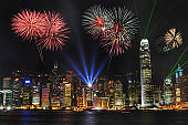 fireworks at victoria harbour, Hong Kong