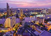 Bangkok river view at Dusk with modern business building in bangkok