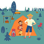 Family camping concept