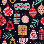 seamless pattern with Christmas decorations on black background