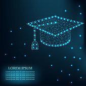 Polygonal graduation cap with mash line blue 3