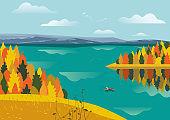 Autumnal lake landscape