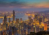 Hong Kong, China - April 8, 2018 - View From The Peak ,Night Skyline of Hong Kong in China.
