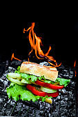 Sandwich with sweet pepper, cheese and lettuce