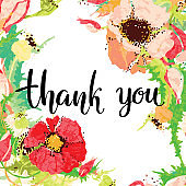 Thank you. Hand drawn creative calligraphy and brush pen lettering, design for holiday greeting cards and invitations.