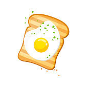White bread, Egg toast. Fresh toasted bread with fried egg. Delicious egg sandwich. vector illustration isolated on a white background.