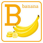 An alphabet with cute fruits, Letter B banana