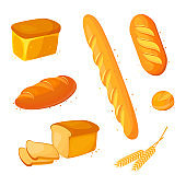 Set vector bread icons. Vector illustration isolated on a white background. Bakery product in cartoon style.