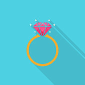 Diamond engagement ring icon with long shadow on blue background, flat design style