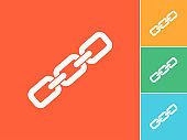 Metal chain, link symbol, relationship and connectivity, vector illustration. Flat Icon on orange Background