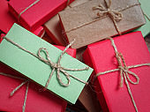 Heap of rustic gift boxes
