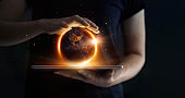 Earth at night was holding in human hands and technology. Earth day. Energy saving concept, Elements of this image furnished by NASA