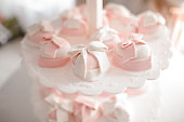 Cute and tasty wedding cakes in white and pink tones
