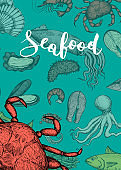 Seafood vintage hand drawn banner