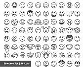 Emoticon outline / 76 icons