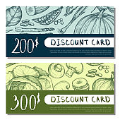 Organic food shop discount card set