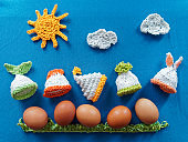 Easter eggs in egg warmers