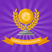 Golden cup with laurel wreath on purple background