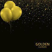 Golden balloons confetti background6