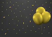 Golden balloons confetti background5