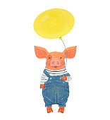 Cute pig holding balloon