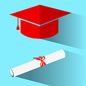 flat icon graduation cap and certificate with red ribbon