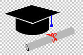 graduation cap and certificate with red ribbon at transparent effect background