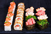 Delicious sushi set, luxury restaurant food. Set of pressed sush