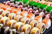 Japanese food, assortment of maki sushi rolls