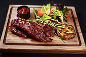 medium rare skirt steak, grill and barbeque meat