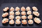 Luxury restaurant sushi menu. Sushi rolls set decorated with shr