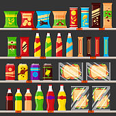 Supermarket, store shelves with groceries products. Fast food snack and drinks with price tags on the racks - flat vector illustration