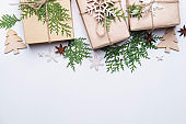 Christmas holidays composition on white background
