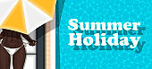 Summer holiday banner with girl sunbathing