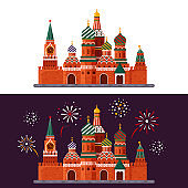 Welcome to Russia. St. Basil's Cathedral on Red square. Kremlin palace isolated on white background and night with fireworks - vector stock flat illustration. Landscape design