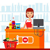 Woman cashier in supermarket with snack products. Seller at the counter with food basket, fast food snacks, drinks, nuts, chips, cracker, juice, sandwich in the store - flat vector illustration