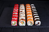 Tasty appetizing  multicolored maki sushi rolls set with wide as