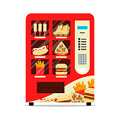 Hot food automatic vending machine with sausage dough sandwich pizza french fries hamburger isolated on white. Red vendor machine front view automatic seller. Meal dispenser flat vector illustration