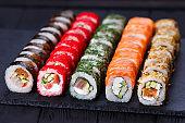 Japanese cuisine, restaurant menu photo of multicolored deliciou