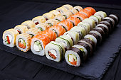 Tasty great colorful set of fresh japanese sushi maki rolls with