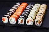Japanese cuisine, restaurant menu photo of multicolored appetizi