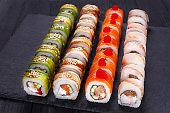Restaurant menu, Japanese food art. Appetizing maki sushi set, s