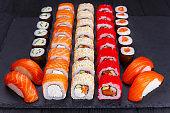 Restaurant menu, Japanese food art. Appetizing maki and nigiri s