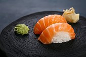 Delicious Japanese cuisine, nigiri sushi with salmon served with