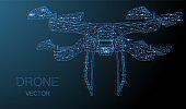 Blue network connection techno drone isolated on black background.