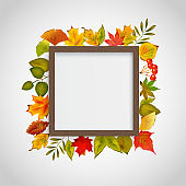 Wooden frame with decoration autumn leaves