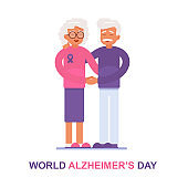 Card for World Alzheimer's Day with An elderly man and his wife with Alzheimer's disease support each other.