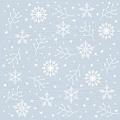 Christmas pattern background with element icons banner. snowflakes, berries, stars, hearts. Vector illustration