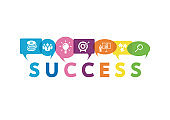 Vector illustration of a communication concept. The word success with colorful dialog speech bubbles